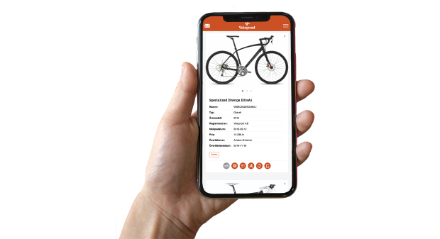 Veloproof cykelregister, webbapp